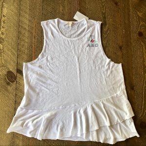 Sundry   Ti Amo white tank top